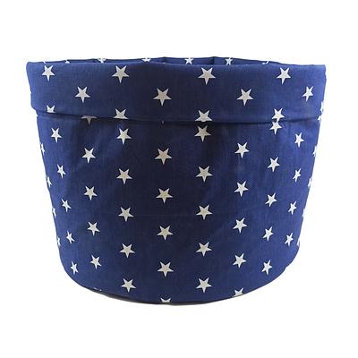 Мешок (корзина) для хранения, Ø45 * 40 см, (хлопок), с отворотом (звездочки на синем / звездочки на синем)