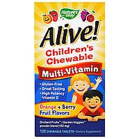 Мультивитамины для Детей, Alive, Nature's Way, Вкус Ягод и Апельсина, 120 жевательных таблеток