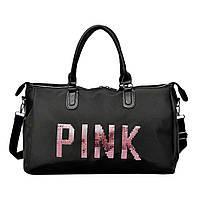 Большая женская сумка Pink в стиле Victorias Secret с пайетками