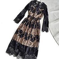 Нарядное платье гипюровое черное на телесной подкладке