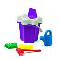 """Ведро """"Цветочек"""" с лейкой и песочным набором (фиолетовое) BAMSIC 012/6 ( TC103908)"""