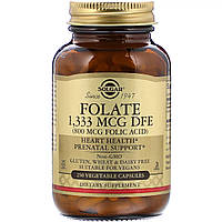Фолиевая Кислота (В9), Folic Acid, 800 мкг, Solgar, 250 растительных капсул