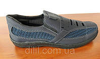 Мокасини чоловічі літні темно сині сітка текстильні прошиті ( код 6565 )