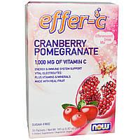 Поддержка Иммунитета, Effer-C, Now Foods, Вкус Клюквы и Граната, 30 пакетиков (5.82 г)