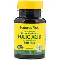 Фолиевая кислота, 800 мкг, Natures Plus, 90 таблеток