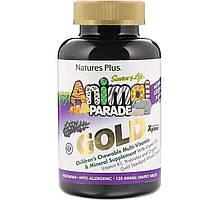 Жевательные Мультивитамины и Минералы для Детей, Вкус Винограда, Animal Parade Gold, Nature's Plus, 120 таблеток в форме животных
