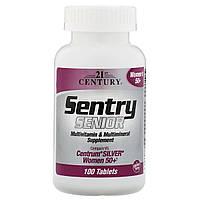 Мультивитамины и Мультиминералы для Женщин 50+, Sentry Senior, 21st Century, 100 таблеток