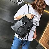 Потрясающая сумка-рюкзак Черного цвета с текстурой под кожу, фото 2