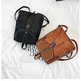 Потрясающая сумка-рюкзак Черного цвета с текстурой под кожу, фото 7
