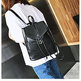 Потрясающая сумка-рюкзак Черного цвета с текстурой под кожу, фото 8