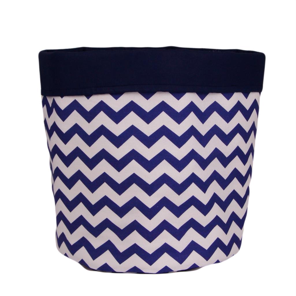 Мішок (кошик) для зберігання, Ø35*45 см, (бавовна), з відворотом (зигзаги сині/темно-синій)