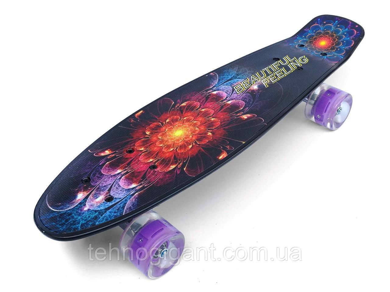 Скейт Penny Board, с широкими светящимися колесами Пенни борд, детский , от 5 лет, расцветка Абстракция