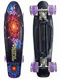 Скейт Penny Board, с широкими светящимися колесами Пенни борд, детский , от 5 лет, расцветка Абстракция, фото 2