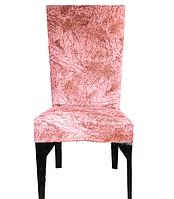 Чехол на стул велюровый Турция Розовый