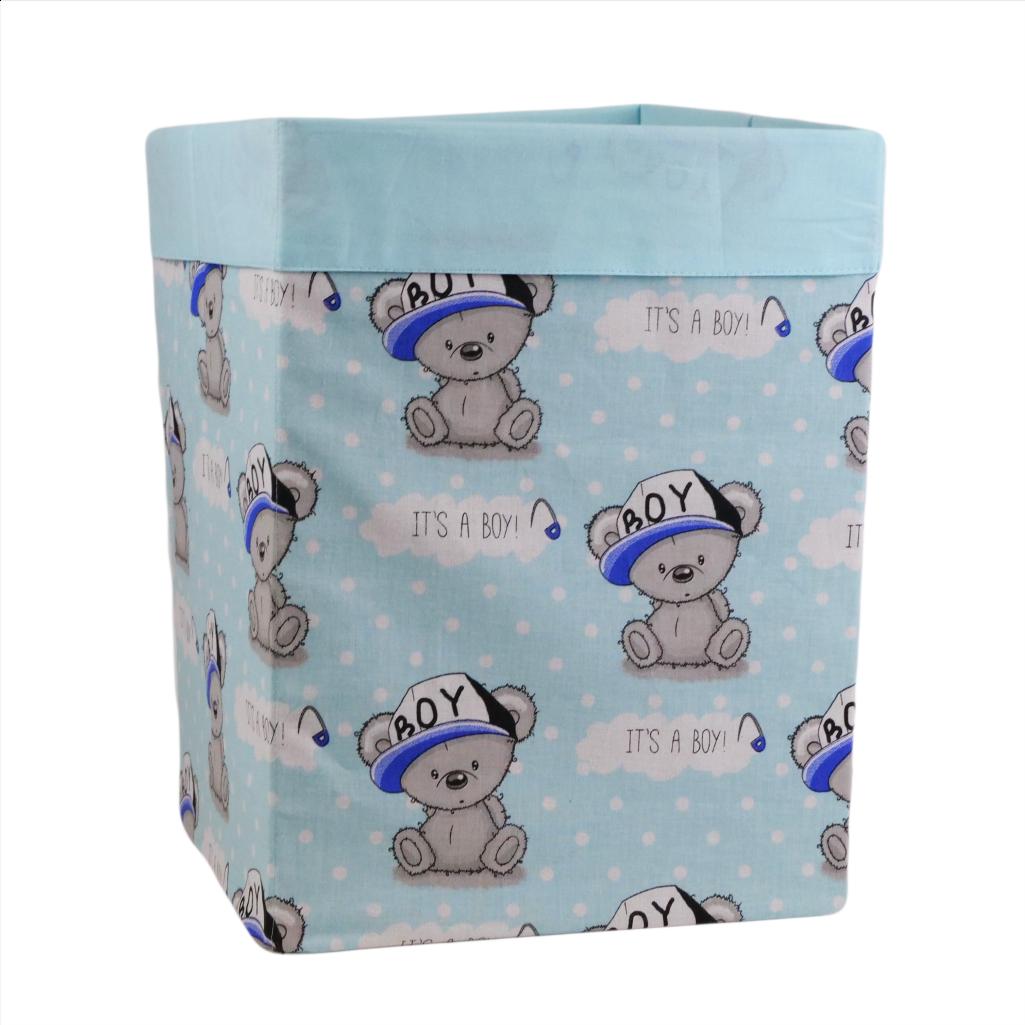 Ящик (коробка) для хранения, 25 * 25 * 30см, (хлопок), с отворотом (Its a Boy! На бирюзовом / ментол)