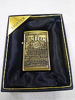 Зажигалка газовая карманная Jim Beam, бронзовая