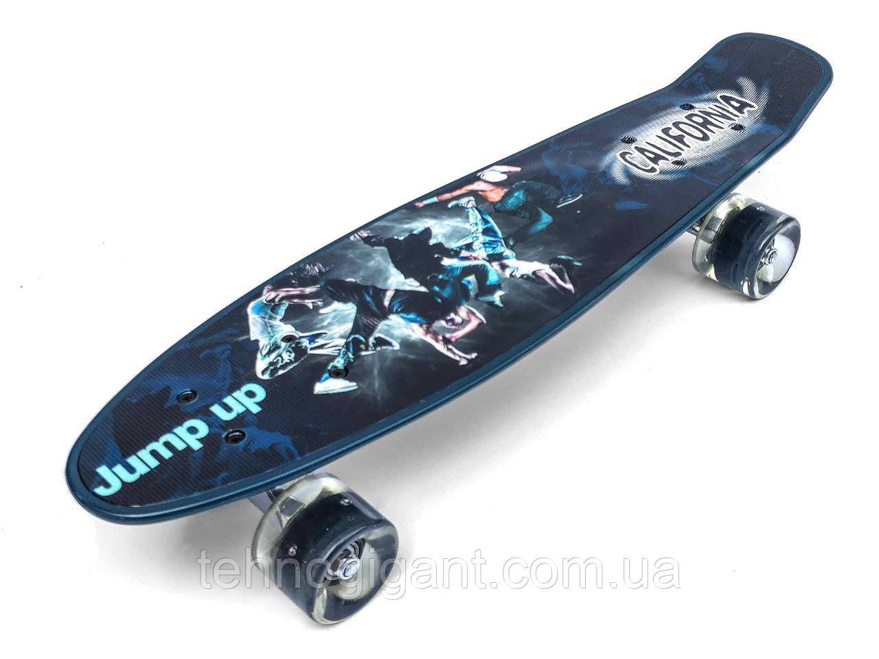 Скейт Penny Board, с широкими светящимися колесами Пенни борд, детский , от 5 лет расцветка Брейк