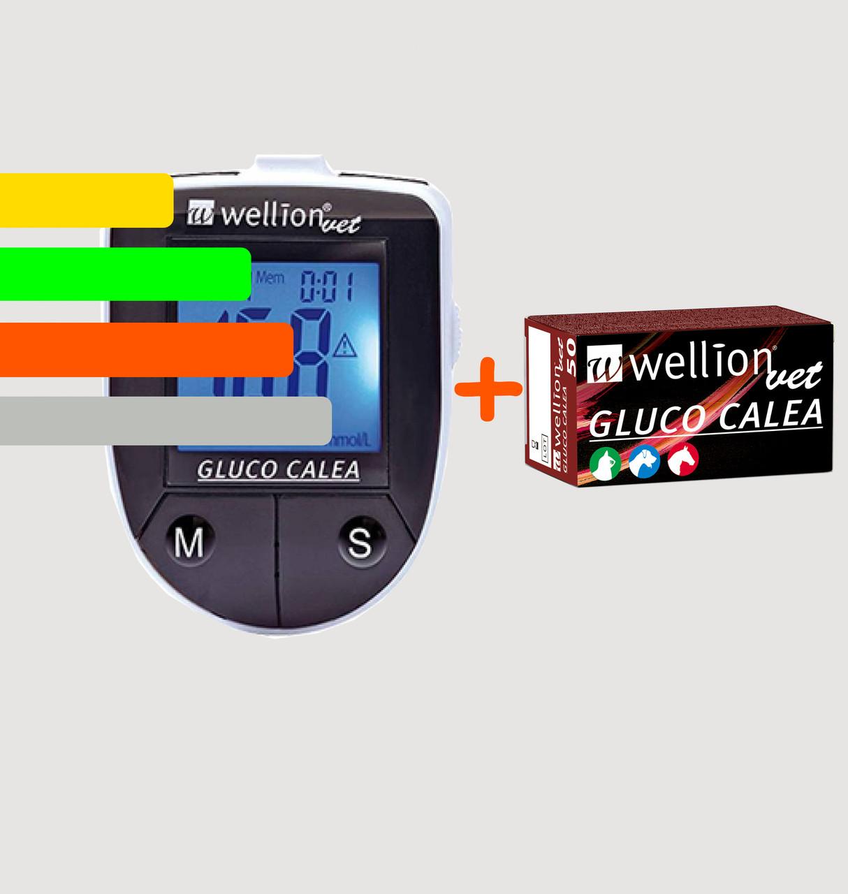 Глюкометр для животных Gluco Calea Wellion Vet +50 тест-полосок