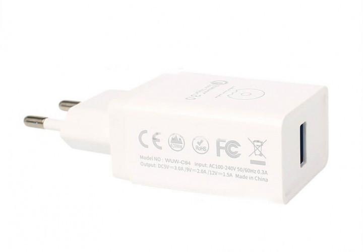 Сетевое зарядное устройство  WUW C94 QC 3.0 1USB Port 2.1A
