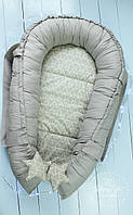 Кокон гнездышко ,Кокон-позиціонер для новонароджених , baby nest в сіро-,білих тонах 2051
