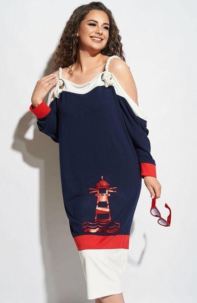 Женское платье в морском стиле больших размеров 50-52 54-56