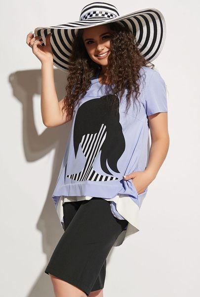 Стильный женский летний костюм футболка и шорты размер 50 52 54 56