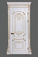 Межкомнатная дверь Casa Verdi Barocco 5 из массива ольхи белая с золотой патиной глухая