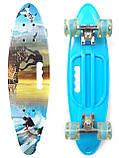 Скейт Penny Board, с широкими светящимися колесами и ручкой, Пенни борд, детский , от 5 лет расцветка Спорт, фото 2