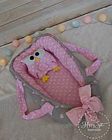 Кокон гнездышко ,Кокон-позиціонер для новонароджених , baby nest в сіро-рожевих тонах 1417