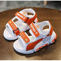 Летние детские босоножки 5G Led оранжевые, подошва на батарейках