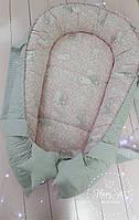 Кокон гнездышко ,Кокон-позиціонер для новонароджених , baby nest в рожевих тонах 1546