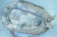 Кокон гнездышко ,Кокон-позиціонер для новонароджених , baby nest в сіро-блакитних тонах 2155
