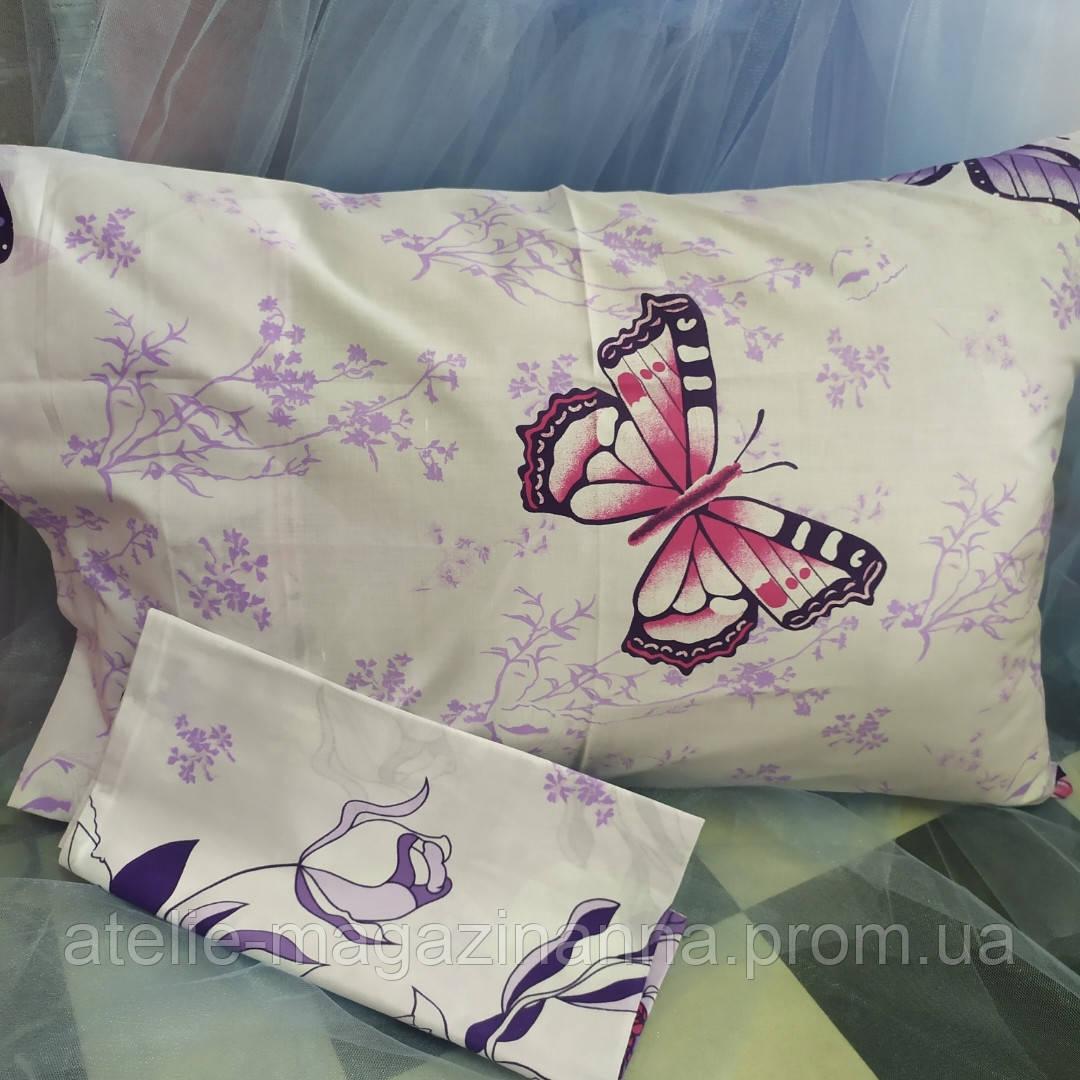 Наволочка на подушку из бязи 50*70 светлая с бабочками недорого