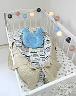 Кокон гнездышко ,Кокон-позиціонер для новонароджених , baby nest в коричнево-білих тонах 1875