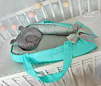Кокон гнездышко ,Кокон-позиціонер для новонароджених , baby nest  в сіро-м'ятних тонах 1641