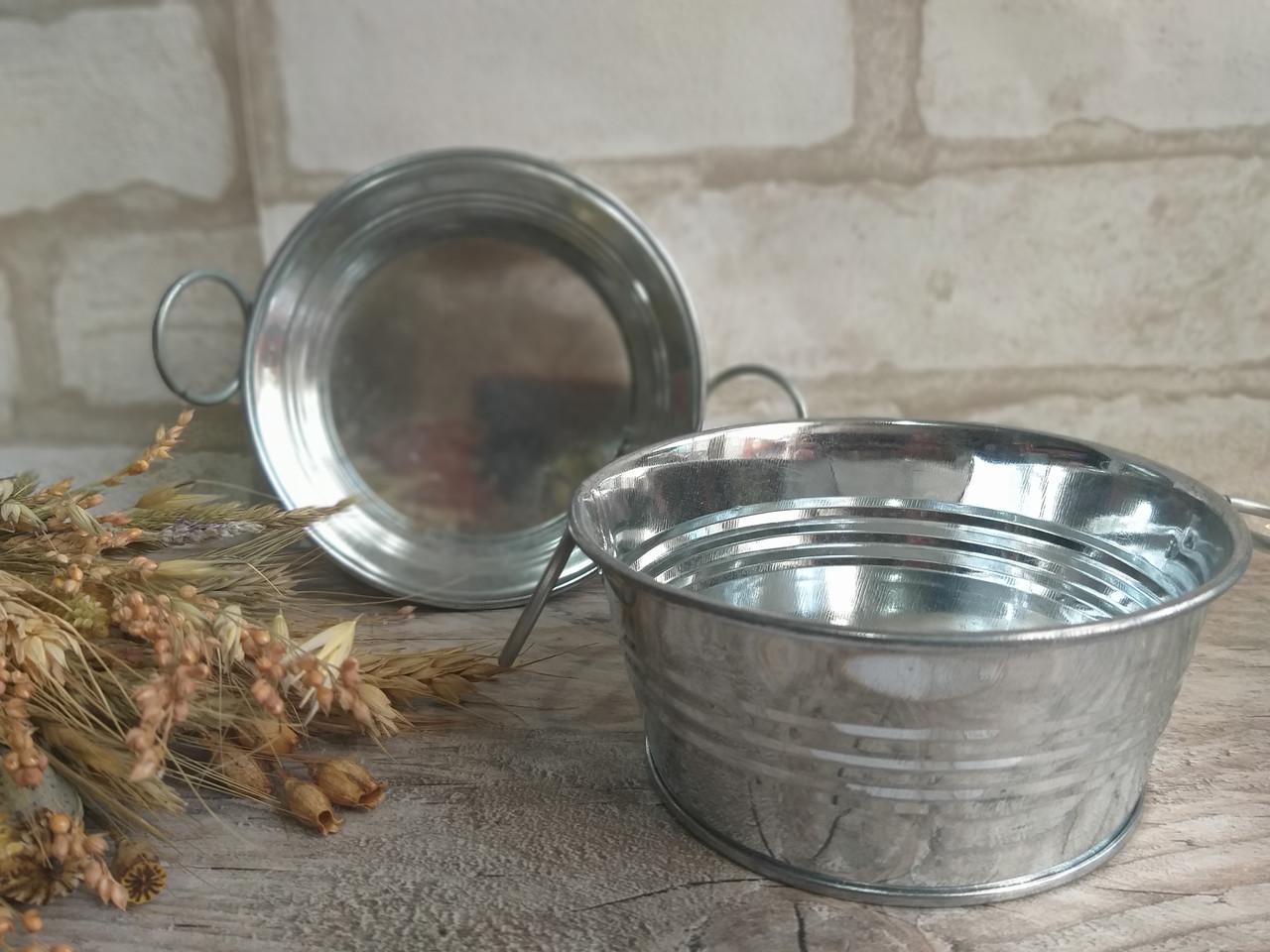 Тазик металлический для декора, выс. 5 см., 40/30 (цена за 1 шт. + 10 гр.)