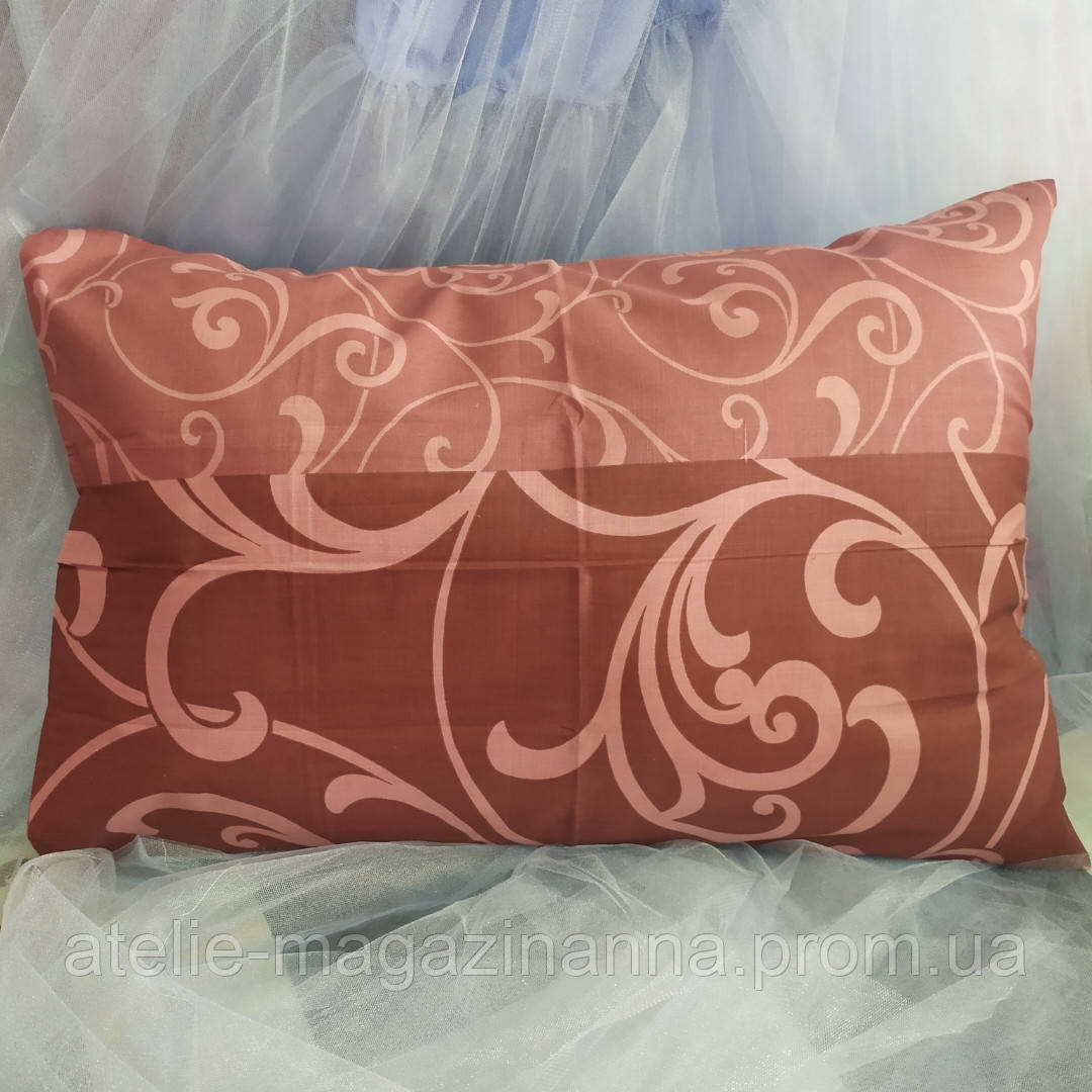 Наволочка на подушку из бязи 50*70 коричневая с вензелями недорого