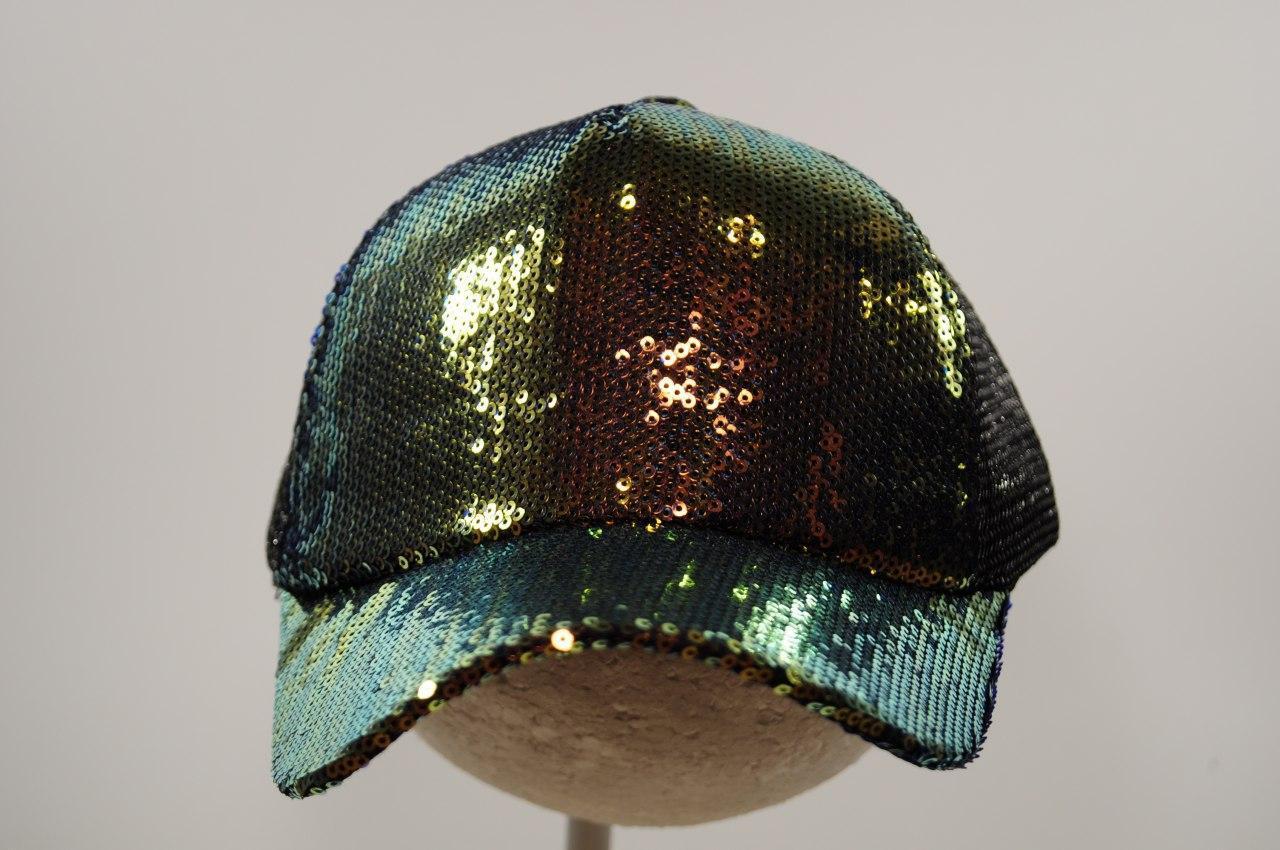 Модная кепка с пайетками и сеткой для девочки, р. 54 8 и больше лет черная  NL10A_2