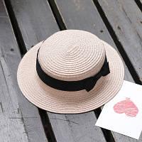 Шляпа женская летняя канотье с бантиком розовая (пудровая)