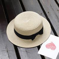 Шляпа женская летняя канотье с бантиком кремовая