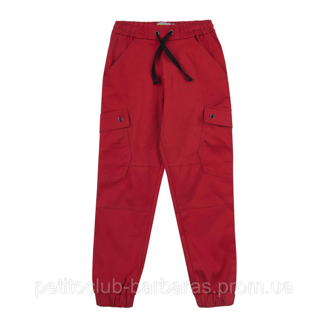 Детские брюки джоггеры на резинке для мальчика бордо (р.116-140 см) (KIT-Lime, Украина)
