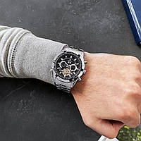Мужские наручные часы Forsining FSG340 Silver-Black