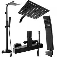 Душевой комплект набор REA MILAN BLACK MAT REA-P7000 душевая система стойка, тропический душ (душовий набір)