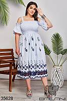 Женское летнее платье с цветочным принтом 50-52,54-56