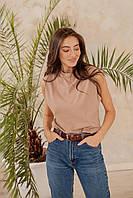 Хлопковая женская футболка безрукавка
