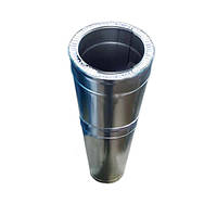 Труба-удленитель двустенная из нержавеющей стали (0,5-1м, 0.6 мм) в нержавеющем кожухе