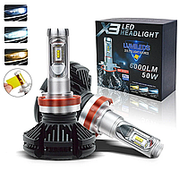Светодиодные LED лампы X3 H7 для автомобиля / автолампы HEADLIGHT 8000K/6000Lm / автомобильные лед лампы