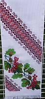 Рушник ручної роботи вишитий хрестиком на панамі в геометрично-рослинному орнаменті