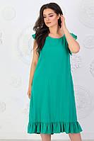 А427 Женское платье с рюшами БАТАЛ  изумруд/ изумрудное/ зеленая мята