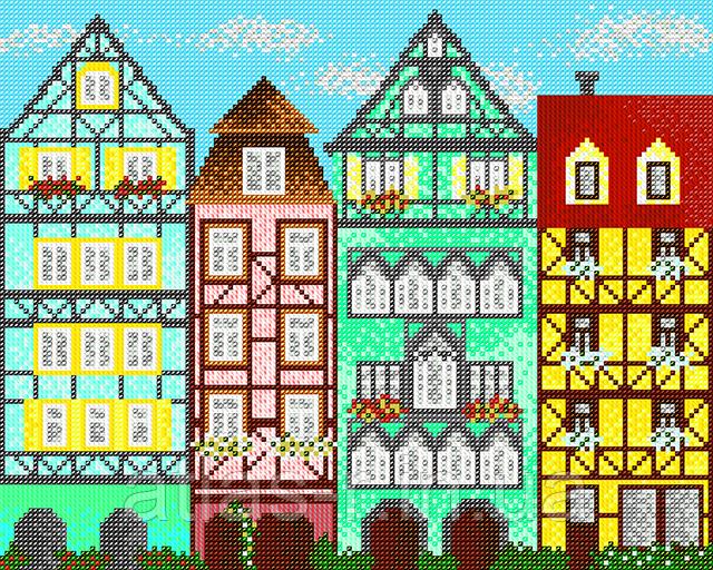 """А3 """"Європейські будиночки 1"""" схема для вишивки бісером"""
